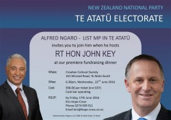 National Fundraiser with ALFRED NGARO - LIST MP IN TE ATATŪ and RT HON JOHN KEY